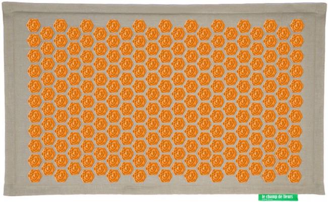 Mauve - Orange Ensemble Tapis et Coussin Champ de Fleurs